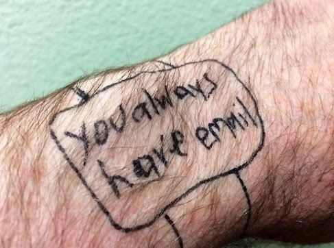 Smartwatch Drawn on Arm with Inkpen